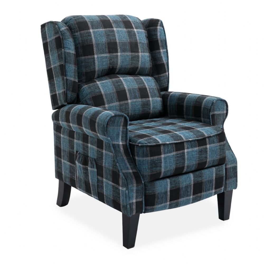 Blue Checked Fab Recliner Armchair, with wood feet